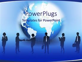 PowerPoint template displaying shadows of business men and women in front of blue and white globe