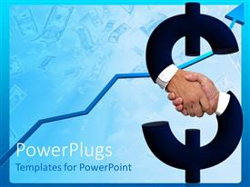 PowerPlugs: PowerPoint template with shaking hands forming dollar sign and money bills with raising arrow on blue background