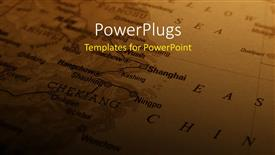 PowerPoint template displaying a map in the background with place for text