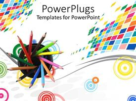 PowerPlugs: PowerPoint template with sharpened colored pencils in a container over colorful shapes on white background