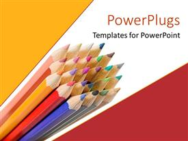 PowerPlugs: PowerPoint template with sharpened colorful pencils on geometric patterned yellow, white and red background