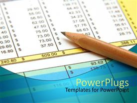 PowerPlugs: PowerPoint template with sharpened pencil on spreadsheet, pencil on financial papers, accounting and financial theme