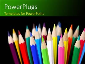 PowerPlugs: PowerPoint template with sharpened pencils of different colors over black background