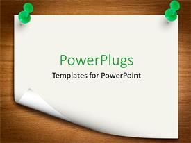 PowerPlugs: PowerPoint template with sheet held with two green pins on brown board