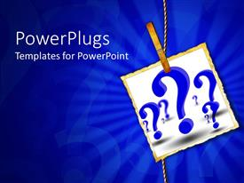 PowerPlugs: PowerPoint template with sheet of paper pegged to a rope with blue question marks