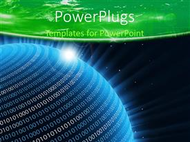 PowerPlugs: PowerPoint template with a blue earth globe in space with binary numbers on it