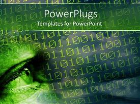PowerPlugs: PowerPoint template with shining eye of a man in yellow color binary codes
