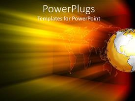 PowerPlugs: PowerPoint template with shining light over an earth globe on a dark background