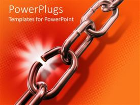 PowerPlugs: PowerPoint template with shining metal chain with broken link on orange background