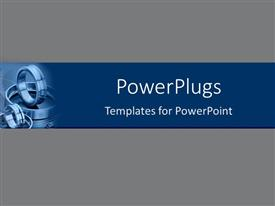 PowerPoint template displaying shining steel rings engine parts on blue band over gray background