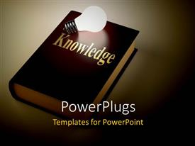 PowerPoint template displaying a shinning brown reflective book with a white bulb