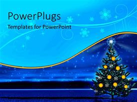 PowerPoint template displaying a shinning Christmas tree with yellow balls on it