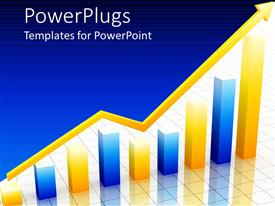 PowerPlugs: PowerPoint template with shinning gold arrow sign over a blue and gold bar chart