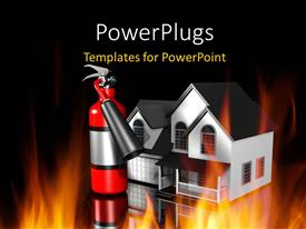 PowerPlugs: PowerPoint template with shinny fire extinguisher beside house and depiction of fire