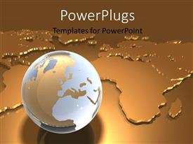 PowerPoint template displaying shinny glass earth globe over metallic gold world map