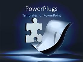 PowerPlugs: PowerPoint template with shinny puzzle piece over two metallic sheets on blue background