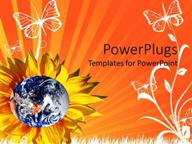 PowerPlugs: PowerPoint template with shiny earth depiction in a yellow flower and butterflies