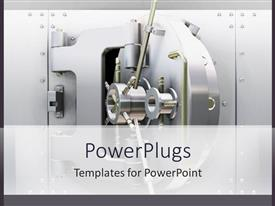 PowerPlugs: PowerPoint template with shiny silver open bank vault door