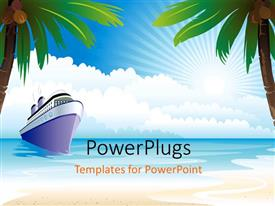 PowerPlugs: PowerPoint template with a ship on the beach with trees