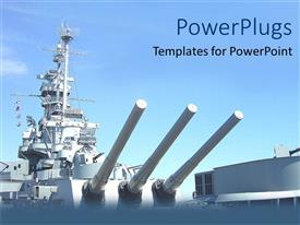 PowerPlugs: PowerPoint template with a ship with blue sky ready to diminish enemies