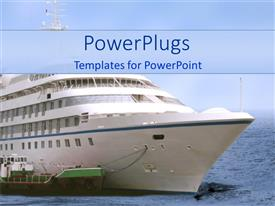 PowerPoint template displaying a ship holding a small boat while making its way in th sea