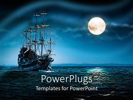 PowerPlugs: PowerPoint template with a ship of pirates in a sea with moon shining on the side.Blue black background with mysterious atmosphere