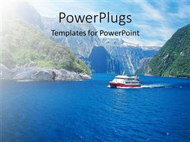PowerPlugs: PowerPoint template with a ship sailing in the river with sky in the background