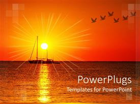 PowerPlugs: PowerPoint template with a ship sailing in the sea with sun in the background