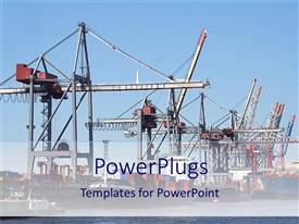 PowerPoint template displaying shipping company containers transporting goods, international trade