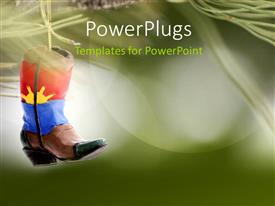 PowerPlugs: PowerPoint template with a shoe with a greenish background and place for text