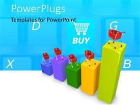 PowerPlugs: PowerPoint template with shopping cart with colorful sale performance chart