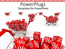 PowerPlugs: PowerPoint template with shopping carts with discount percent red cubes with white percentage sign