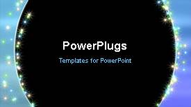 PowerPoint template displaying a short video of an abstract black background with multi colored lights - widescreen format
