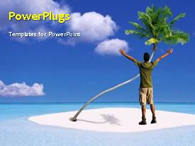PowerPlugs: PowerPoint template with a short video of a man standing on a beach