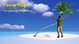 PowerPoint template displaying a short video of a man standing on a beach - widescreen format