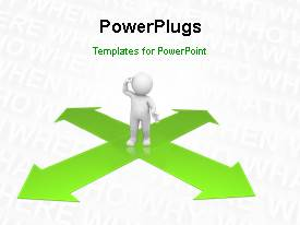 PowerPlugs: PowerPoint template with a short video showing a 3D character confused on a cross road