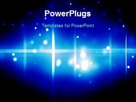 PowerPoint template displaying a short video showing an abstract of some light orbs on a blue background