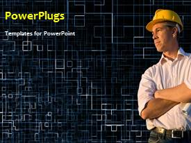 PowerPoint template displaying a short video showing a construction worker on a black background