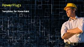 PowerPoint template displaying a short video showing a construction worker on a black background - widescreen format