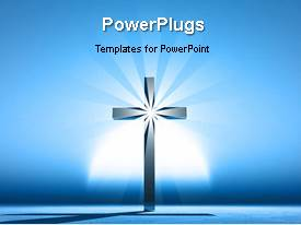 PowerPlugs: PowerPoint template with a short video showing a light on a cross