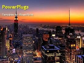 PowerPoint template displaying a short video showing a night view of a city lanscape