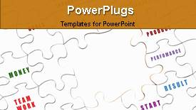 PowerPoint template displaying a short video showing puzzles with a text that spell out the words