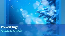 PowerPoint template displaying a short video showing snow falling on a blue background - widescreen format