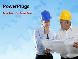PowerPoint template displaying a short video showing two engineers having a conversation