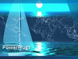 PowerPlugs: PowerPoint template with a short video of a yatch on a blue colored background