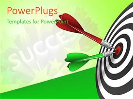 PowerPlugs: PowerPoint template with red and green tailed darts stuck in bulls eye of success target
