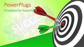 PowerPoint template displaying red and green tailed darts stuck in bulls eye of success target