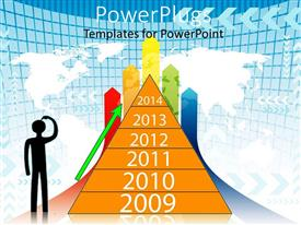 PowerPlugs: PowerPoint template with a template showing the business growth from the year 2009 to 2014