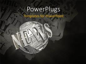 PowerPlugs: PowerPoint template with shredded pieces of news paper with 3D NEWS circling earth globe