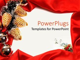 PowerPlugs: PowerPoint template with sic yellow and black Christmas ornaments on a white surface
